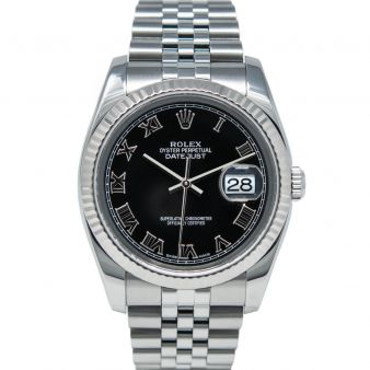Rolex Men's Datejust 36 116234 Wristwatch, Jubilee Bracelet, Black Roman Dial, Fluted Bezel