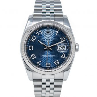 Rolex Men's Datejust 36 116234 Wristwatch, Jubilee Bracelet, Blue Concentric Arabic Dial, Fluted Bezel