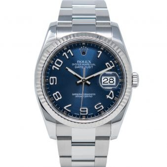 Rolex Men's Datejust 36 116234 Wristwatch, Oyster Bracelet, Blue Concentric Arabic Dial, Fluted Bezel
