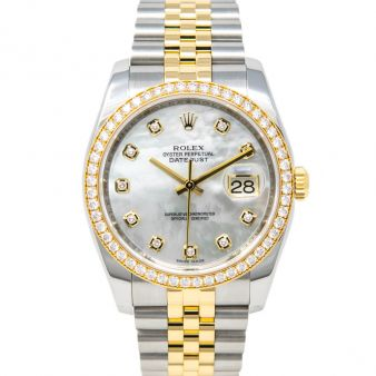 Rolex Datejust 36, Mother of Pearl Diamond Face, Steel & Gold, 116243
