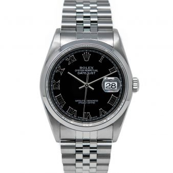 Rolex Datejust 36 16200 Wristwatch, Jubilee Bracelet, Black Roman Dial, Smooth Bezel