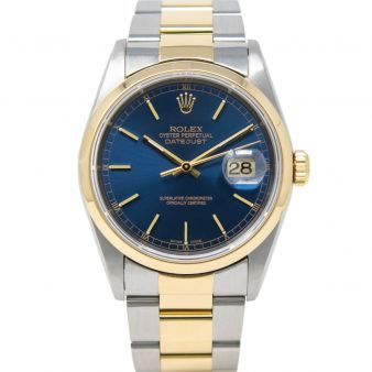Rolex Men's Datejust 36 16203 Wristwatch, Oyster Bracelet, Blue Index Dial, Smooth Bezel