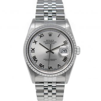 Rolex Men's Datejust 36 16220 Wristwatch, Jubilee Bracelet, Silver Roman Dial, Engine-Turn Bezel