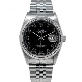 Rolex Men's Datejust 36 16220 Wristwatch, Jubilee Bracelet, Black Roman Dial, Engine-Turn Bezel