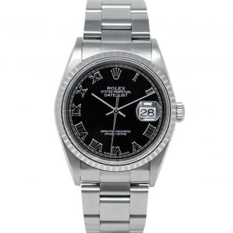 Rolex Men's Datejust 36 16220 Wristwatch, Oyster Bracelet, Black Roman Dial, Engine-Turn Bezel