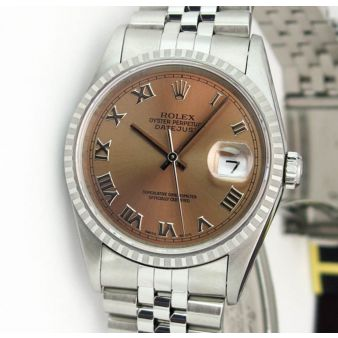 Rolex Datejust Engine Turn Steel Rose Pink Roman Dial 16220 Oyster Watch Chest