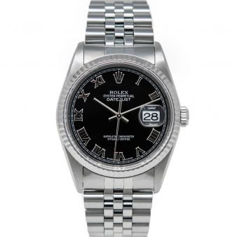 Rolex Men's Datejust 36 16234 Wristwatch, Jubilee Bracelet, Black Roman Dial, Fluted Bezel