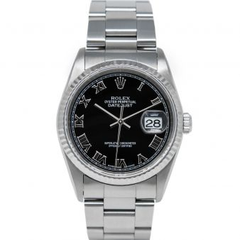 Rolex Men's Datejust 36 16234 Wristwatch, Oyster Bracelet, Black Roman Dial, Fluted Bezel