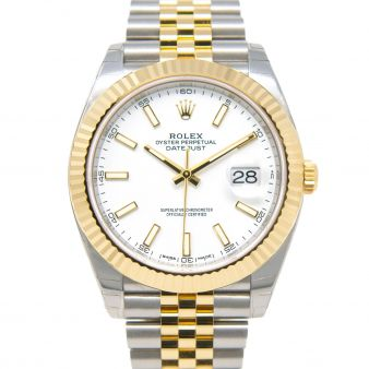 New Rolex Datejust 41, White Face, Steel & Yellow Gold, 126333