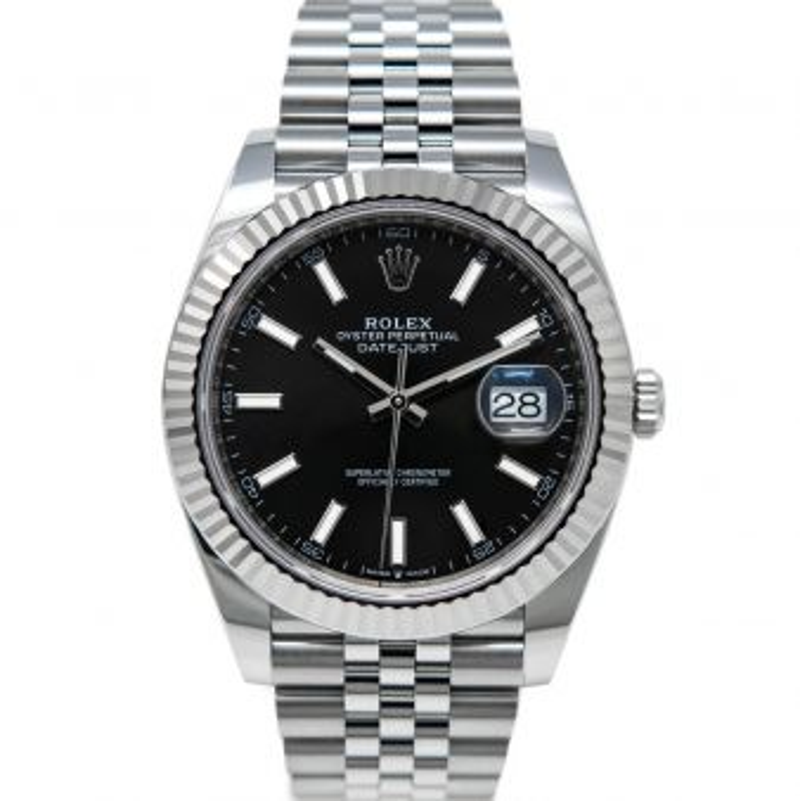 Rolex Men's Datejust 41 126334 Wristwatch, Jubilee Bracelet, Black Index Dial, Fluted Bezel