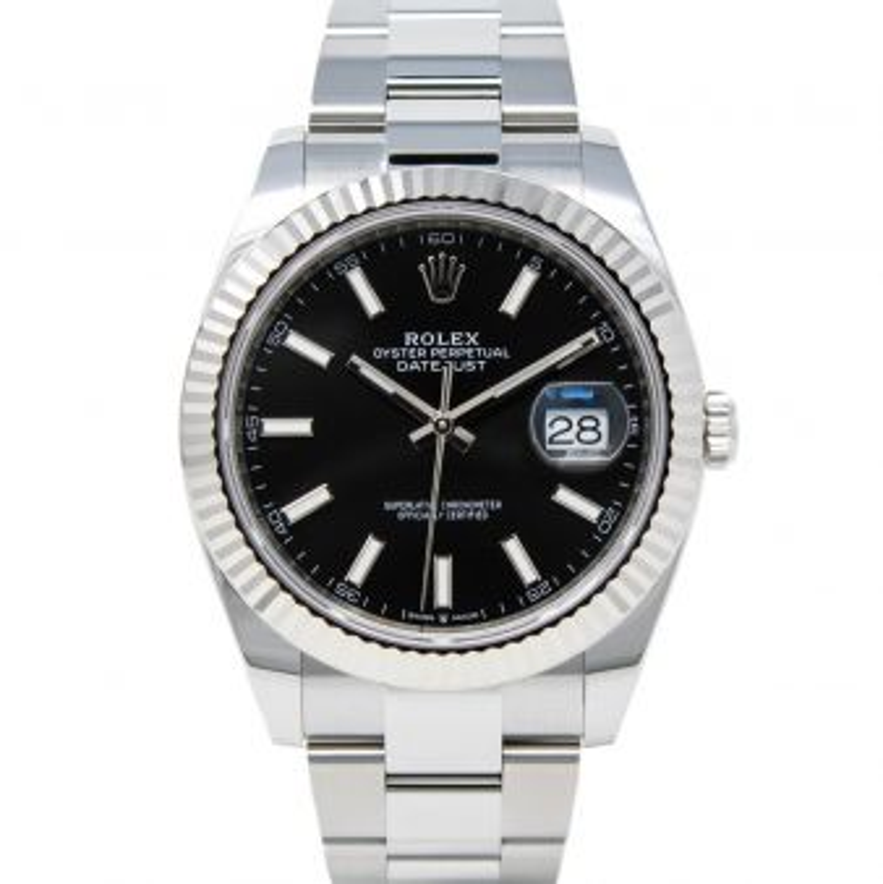 Rolex Men's Datejust 41 126334 Wristwatch, Oyster Bracelet, Black Dial, Fluted Bezel
