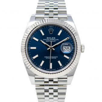 Rolex Datejust 41 126334 Wristwatch, Jubilee Bracelet, Blue Index Dial, Fluted Bezel