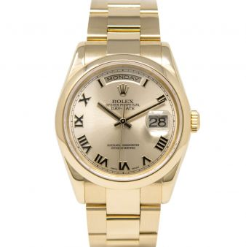 Rolex Day-Date 36 118208 Wristwatch, Oyster Bracelet, Light Champagne Roman Dial, Smooth bezel