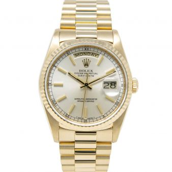 Rolex Day-Date 36 18238 Wristwatch, President Bracelet, Silver Index Dial, Fluted Bezel