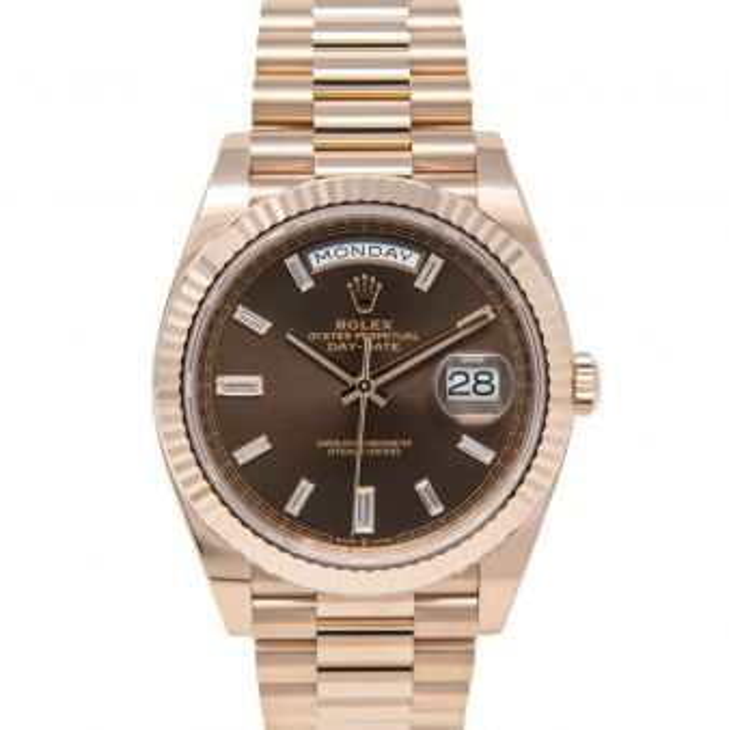 Rolex Men's Day-Date 40 228235 Wristwatch, President Bracelet, Chocolate Diamond Dial, Fluted Bezel