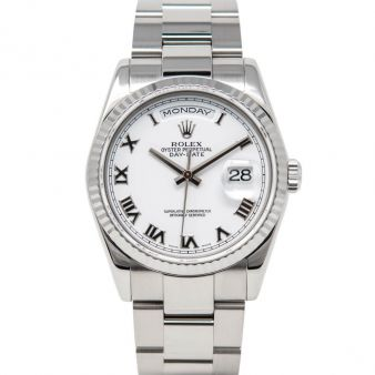 Rolex Day-Date 36, Oyster Bracelet, White Roman Face, White Gold, 118239