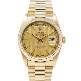 Rolex Day-Date 36 18038 Wristwatch, President Bracelet, Champagne Tapestry Index Dial, Fluted Bezel
