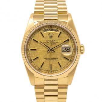 Rolex Day-Date 36, President Bracelet, Champagne Linen Face, Yellow Gold, 18038
