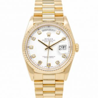 Rolex Day-Date 36, President Bracelet, White Diamond Face, Yellow Gold, 18238