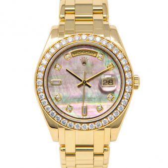Rolex Day-Date Special Edition, Black Mother of Pearl Diamond Face, Yellow Gold, 18948