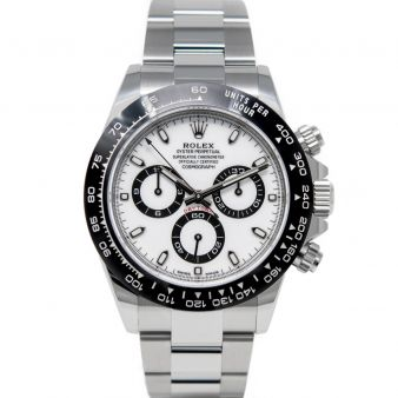 Rolex Men's Daytona 116500 Wristwatch, Oyster Bracelet, White Index Dial, Black Bezel