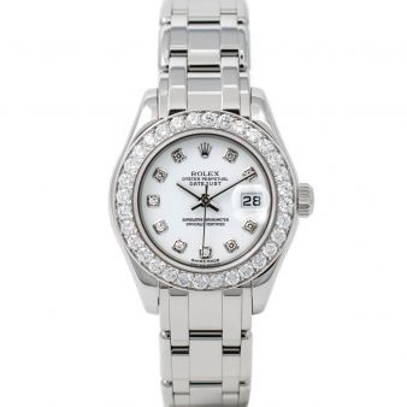 Rolex Lady Pearlmaster 29 80299 Wristwatch, Pearlmaster Bracelet, White Diamond Dial, Diamond Bezel