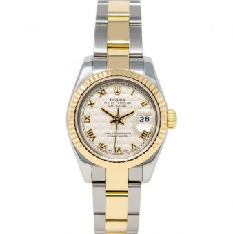 Rolex Lady-Datejust 179173 Wristwatch, Oyster Bracelet, Ivory Pyramid Roman Dial, Fluted Bezel