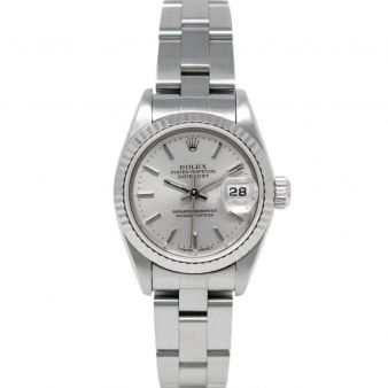 Rolex Lady-Datejust 69174 Wristwatch, Oyster Bracelet, Silver Index Dial, Fluted Bezel