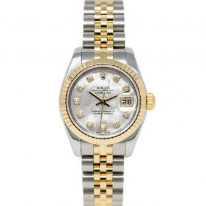 Rolex Lady-Datejust 179173 Wristwatch, Jubilee Bracelet, Mother of Pearl Diamond Dial, Fluted Bezel