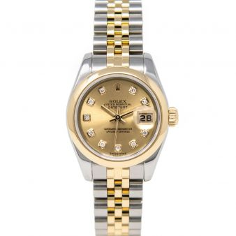 Rolex Lady-Datejust 179163 Wristwatch, Jubilee Bracelet, Champagne Diamond Dial, Smooth Bezel