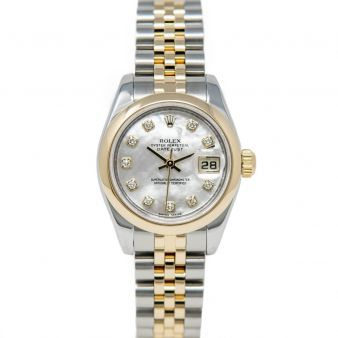 Rolex Lady Datejust 179163 Wristwatch, Jubilee Bracelet, Mother of Pearl Diamond Dial, Smooth Bezel