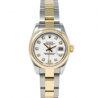 Rolex Lady-Datejust 179163 Wristwatch, Oyster Bracelet, White Diamond Dial, Smooth Bezel