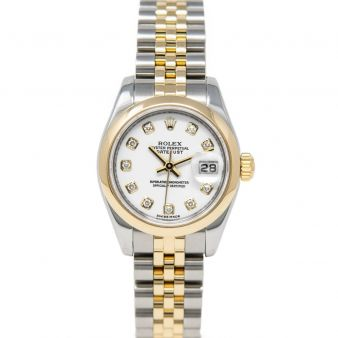 Rolex Lady Datejust 179163 Wristwatch, Jubilee Bracelet, White Diamond Dial, Smooth Bezel