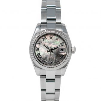 Rolex Lady Datejust 179174 Wristwatch, Oyster Bracelet, Black Mother of Pearl Roman Dial, Fluted Bezel
