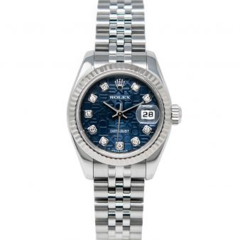 Rolex Lady Datejust 179174 Wristwatch, Jubilee Bracelet, Blue Jubilee Diamond Dial, Fluted Bezel