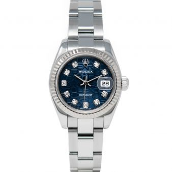 Rolex Lady Datejust 179174 Wristwatch, Oyster Bracelet, Blue Jubilee Diamond Dial, Fluted Bezel