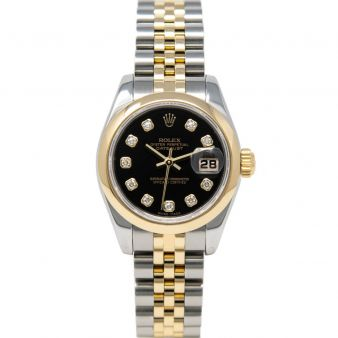 Rolex Lady-Datejust 179163 Wristwatch, Jubilee Bracelet, Black Diamond Dial, Smooth Bezel