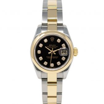 Rolex Lady Datejust 26 179163 Wristwatch, Oyster Bracelet, Black Diamond Dial, Smooth Bezel