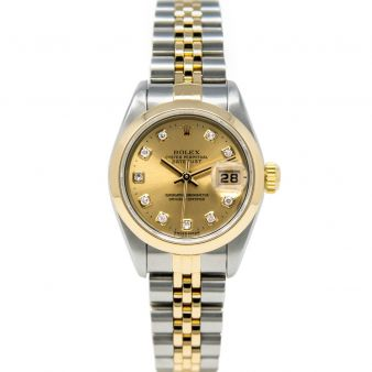 Rolex Lady Datejust 69163 Wristwatch, Jubilee Bracelet, Champagne Diamond Dial, Smooth Bezel