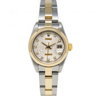 Rolex Lady Datejust 69163 Wristwatch, Oyster Bracelet, Silver Jubilee Diamond Dial, Smooth Bezel