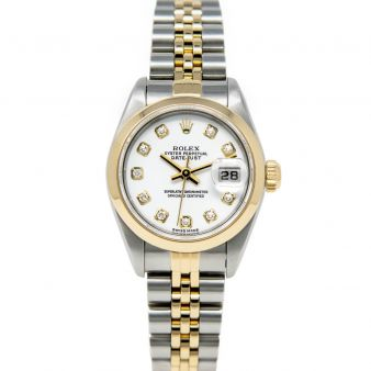 Rolex Lady Datejust 79163 Wristwatch, Jubilee Bracelet, White Diamond Dial, Smooth Bezel