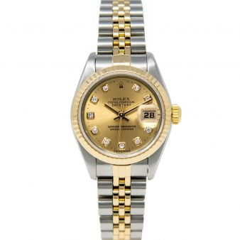Rolex Lady Datejust 69173 Wristwatch, Jubilee Bracelet, Champagne Diamond Dial, Fluted Bezel