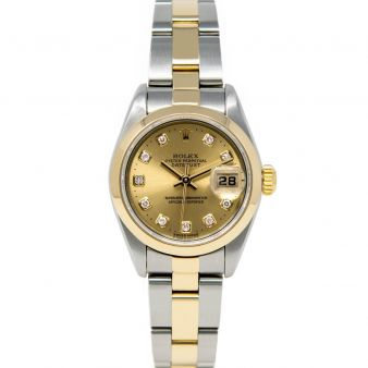 Rolex Lady Datejust 69163 Wristwatch, Oyster Bracelet, Champagne Diamond Dial, Smooth Bezel
