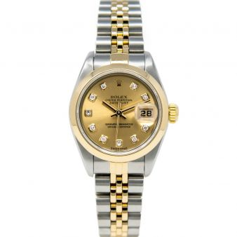 Rolex Lady Datejust 79163 Wristwatch, Jubilee Bracelet, Champagne Diamond Dial, Smooth Bezel