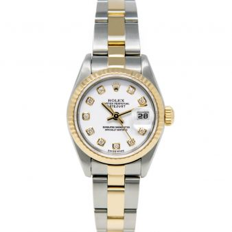 Rolex Lady Datejust 79163 Wristwatch, Jubilee Bracelet, White Diamond Dial, Fluted Bezel