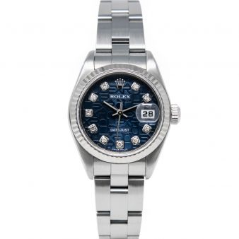 Rolex Lady Datejust 79174 Wristwatch, Oyster Bracelet, Blue Jubilee Diamond Dial, Fluted Bezel