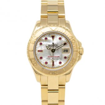 Rolex Lady Yacht-Master, Mother of Pearl Ruby Face, Yellow Gold, 169628