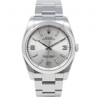 Rolex Men's Oyster Perpetual 116000 Wristwatch, Oyster Bracelet, Silver Arabic Dial, Smooth Bezel