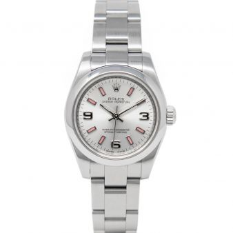 Rolex Oyster Perpetual 176200 Wristwatch, Oyster Bracelet, Silver Arabic Pink Markers Dial, Smooth Bezel