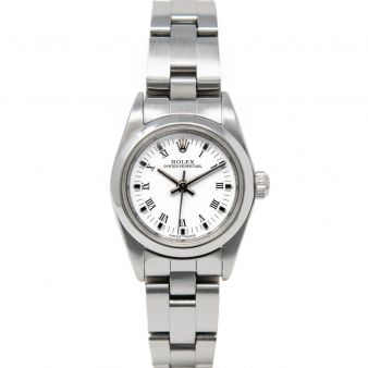 Rolex Women's Oyster Perpetual 76080 Wristwatch, Oyster Bracelet, White Roman Dial, Smooth Bezel